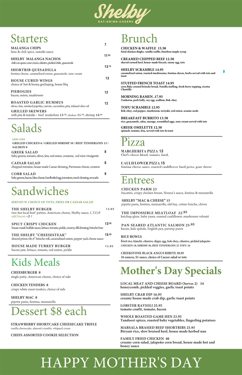 Mother's Day Menu